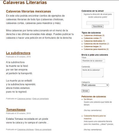 Primera versión de calaveras-literarias.com